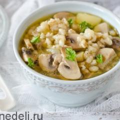 Суп в пост из перловки и грибов