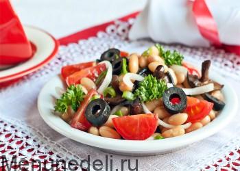 salat s gribami i fasol'ju ом
