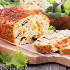 Закусочный кекс с оливками и сыром