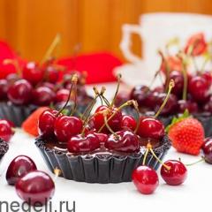 Тарталетки с шоколадом и черешней без выпечки