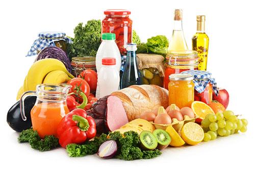 Овощи фрукты мясо хлеб зелень масло молоко консервы