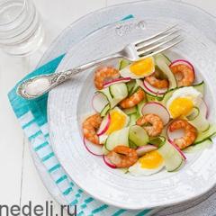 Салат из креветок с яйцом и огурцом