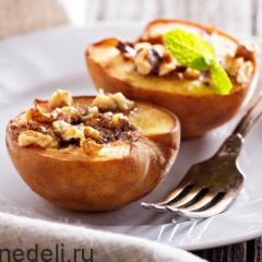 Печеные персики с орехами