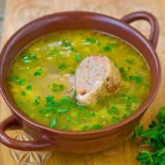 Куриный суп с фаршированными шейками