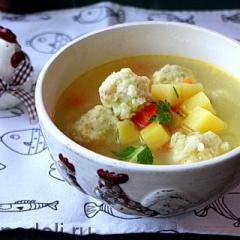 Картофельный суп с рыбными фрикадельками как в детском саду