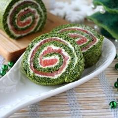 Закусочный рулет со шпинатом и лососем - праздничный рецепт с пошаговыми фото