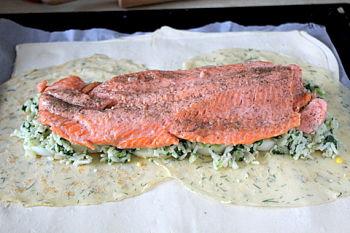 Кулебяка с рыбой, пошаговый рецепт с фото