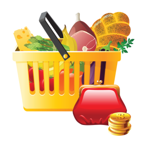 full shopping basket and wallet