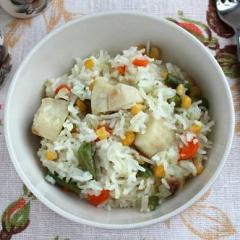 Рыба с рисом и овощами в мультиварке