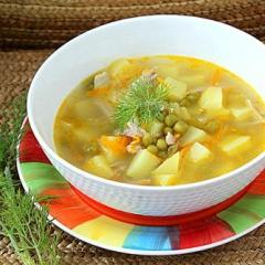 Суп картофельный с зеленым горошком как в детском саду