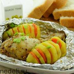 Куриные окорочка с картофелем на пару в мультиварке