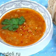 Постный ароматный суп из консервированной фасоли