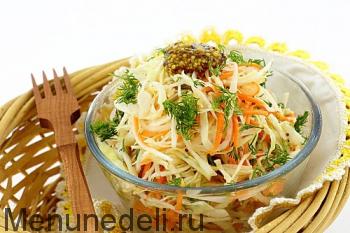 Готовый салат с капустой и дайконом
