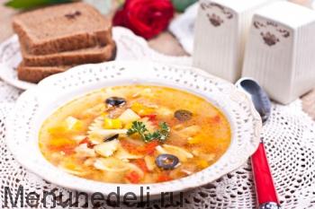 Готовый суп с кроликом
