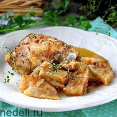 Запеченная курица с сельдереем