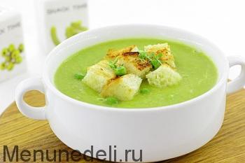 Готовый крем-суп из зеленого горошка