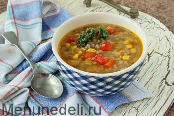Овощной суп с гречкой подача