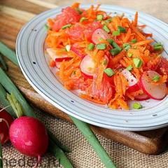 Морковный салат с редисом и грейпфрутом