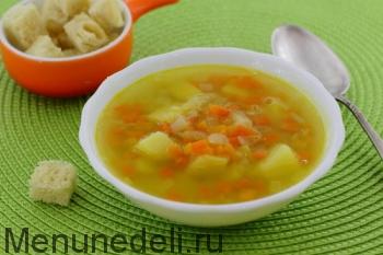 Суп картофельный с горохом и гренками как в детском саду подача