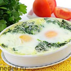 Яйца со шпинатом в духовке