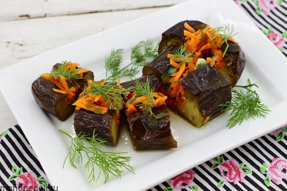 Рецепт баклажанов с морковью и чесноком