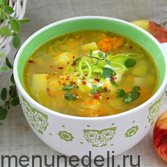 Картофельный суп с яблоком и пореем