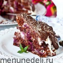 """Кусочек торта """"Пинчер"""" с вишней подача"""