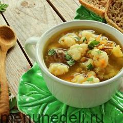 Гороховый суп с цветной капустой на мясном бульоне