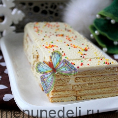 Простой лимонный торт с печеньем