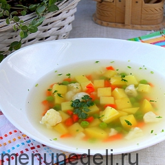 Суп овощной на курином бульоне как в детском саду