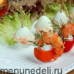 Закуски с копченым лососем и креветками