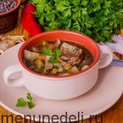 Суп с сушеными грибами и чечевицей