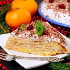Новогодний блинный торт с мандариновым курдом и сметанным кремом