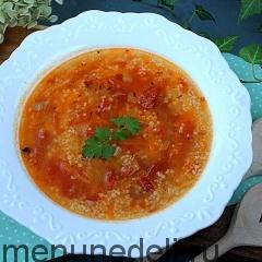 Суп с кускусом и вялеными томатами