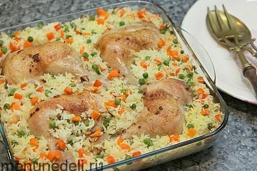 куриные окорочка в духовке с рисом рецепт с фото