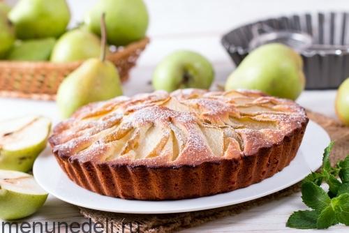 Пирог с грушами и сахарной пудрой - рецепт пошаговый с фото