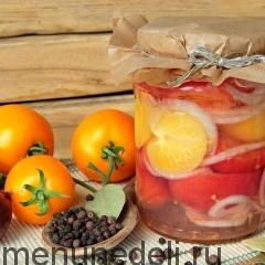 Маринованные помидоры с луком в желе
