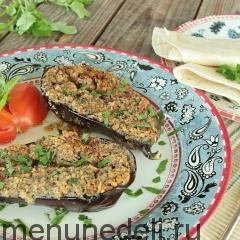 Запеченные баклажаны с чесночно-ореховой начинкой