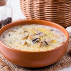 Суп с баклажанами и грибами