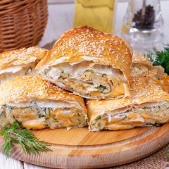 Запеченный лаваш с картошкой и сыром