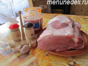 Продукты для запекания куска мяса