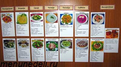 составление меню на неделю программа для похудения