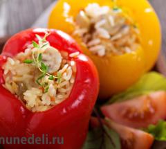 Фаршированный перец с рисом и грибами