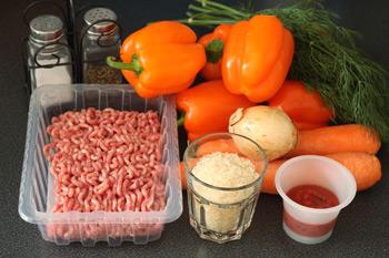 Ингредиенты для фаршированного перца в мультиварке