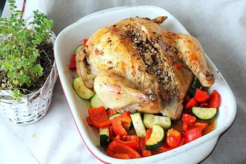 Курица в духовке фаршированная гречкой рецепты