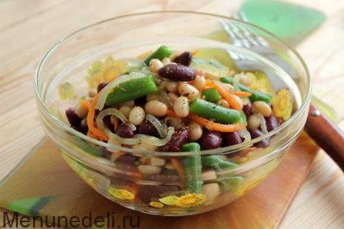 Постный салат с фасолью консервированной